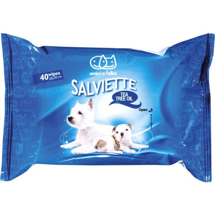 Amici e Felici Salviette detergenti al Tea Tree Oil per cani e furetti  3,99€