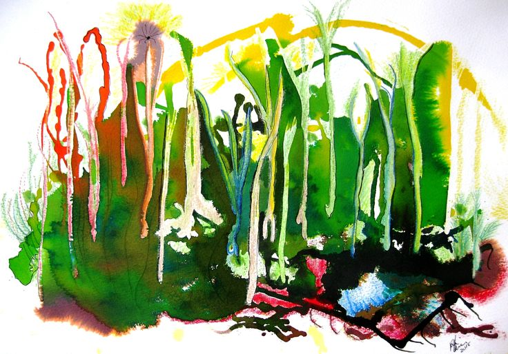 Rooted in Random - acrylic and watercolor abstract on cold pressed paper. For artist contact information and other examples of works, see rloliverartist.com.