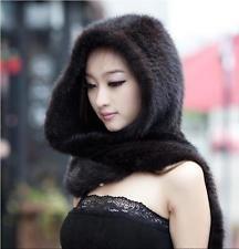 Nouveau véritable vison écharpe fourrure cape étole châle wraps chapeau tricoté femmes manteau noble 1