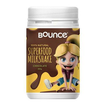 BOUNCE Superfood Milkshake - Chocolate - Onefloor.com.au. $29.95. Bounce Superfood Milkshake is a 100% natural, nutritious and tasty snack that your kids will love any time of the day! Packed with the power of superfoods, it tastes great and provides fantastic nutritional benefits for growing bodies, also making it an ideal way to supplement the diet of fussy little eaters. Just add milk for a convenient and healthy boost!