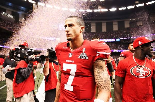 Colin Kaepernick walks off the field after losing against the Baltimore Ravens in Super Bowl XLVII.       Christian Petersen - USA TODAY Sports