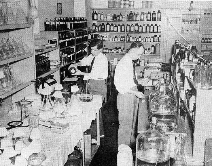 """Hubert (""""Pop"""") Price, right, started the first pharmacy at Rex Hospital in 1938."""