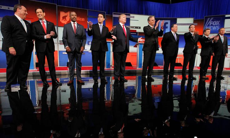 6 August 2015  Republican presidential candidates (left-right) Chris Christie, Marco Rubio, Dr Ben Carson, Scott Walker, Donald Trump, Jeb Bush, Mike Huckabee, Ted Cruz, Rand Paul and John Kasich pose at the start of the first official Republican presidential candidates debate in Cleveland, Ohio