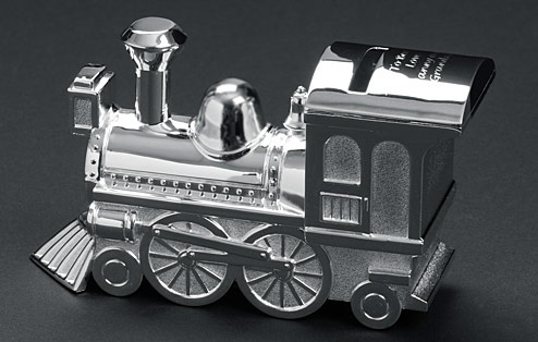 Engraved Silver Plated Train Money Box £14.99 - The Wedding Gift Company