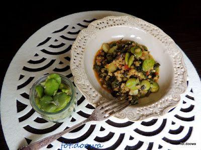 Moje Małe Czarowanie: Kaszotto z bobem, pomidorami i szpinakiem