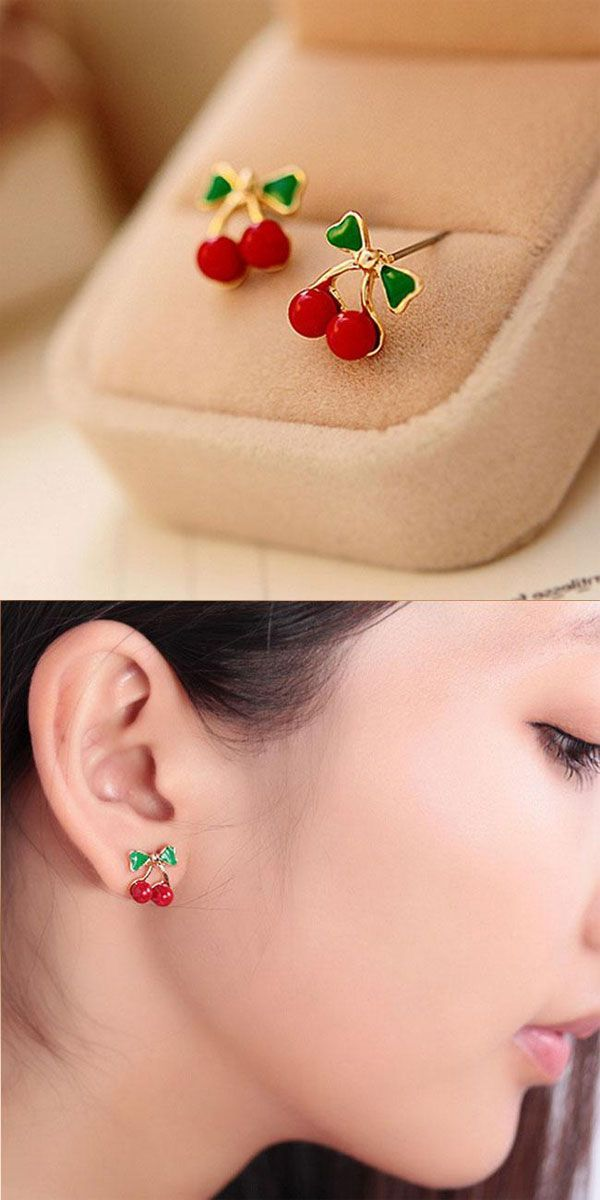 Cherry necklace and pierced earrings with green leaves