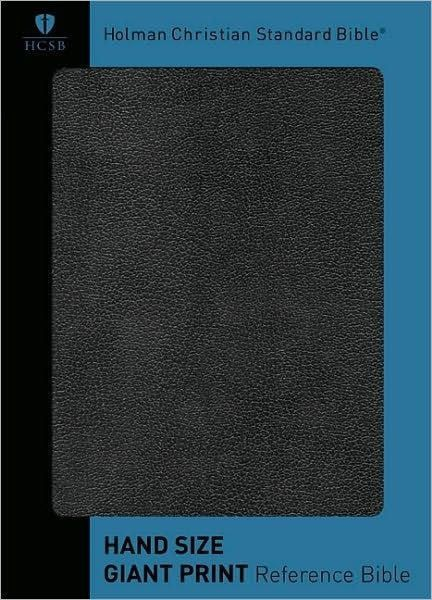 HCSB Hand Size Giant Print Reference Bible-Black LeatherTouch