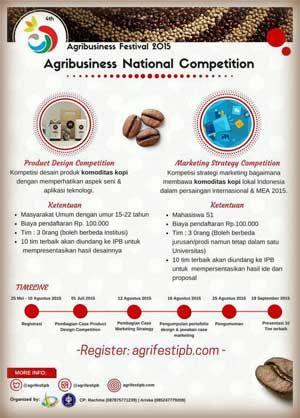 #Lomba #DesainProduk #StrategiPemasaran #AgribusinesFestival2015 #AgrifestIPB #AGRINATION2015 Agribusiness Festival 2015 Lomba Desain Produk dan Lomba Strategi Pemasaran  DEADLINE: 10 Agustus 2015  http://infosayembara.com/info-lomba.php?judul=agribusiness-festival-2015-lomba-desain-produk-dan-lomba-strategi-pemasaran