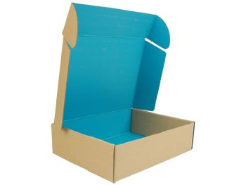E-Commerce Mailer  Blue/Kraft - 11 x 8.5 x 3in  Online sales in the doldrums? Ship in style with a colour on kraft, e-commerce mailer box.