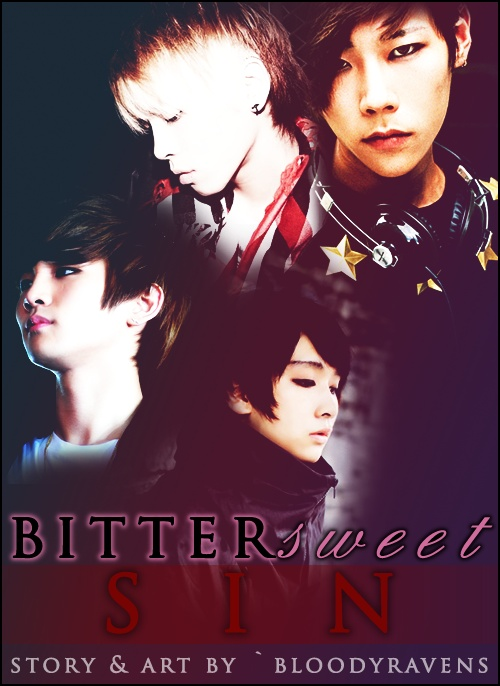 Poster for my yaoi k-pop fanfic, Bitter Sweet Sin. I'm really excited to start this story. I wanna get to the JongKeyHae (Jonghyun x Kibum x Haeyun) goodness >w<. Haeyun, is my own original character. I use the ulzzang Ho Junyeon to illustrate him :3. This story also features my other male OC, Ahn Taehyun, who is illustrated with Ulzzang Yu Hamin.