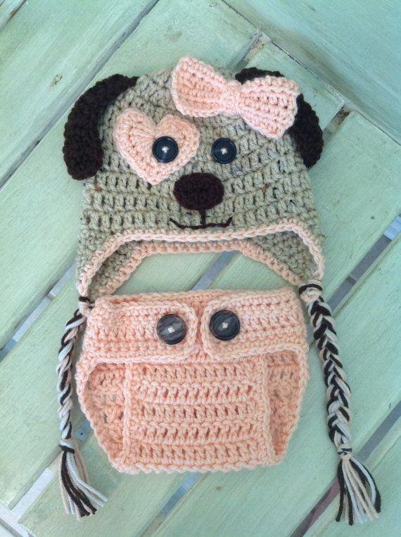 Crochet el sombrero de perro cachorro y cubierta de pañal, a la orden, melocotón, caqui, marrón, bebé, regalos, Foto Prop