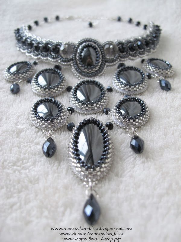 """Колье """"Готика""""   biser.info - Necklace """"Gothic"""" in black and silver."""