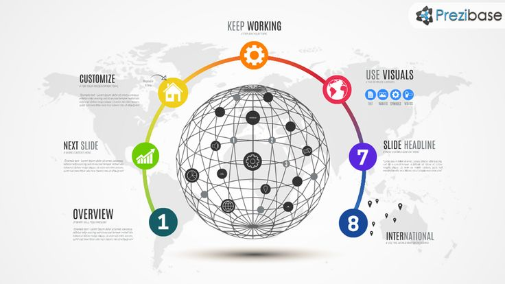 World wireframe globe infographic prezi template