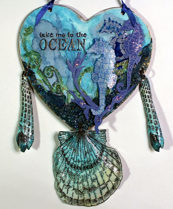 Sea themed mini hanging created with Seaside Dreams, Underwater and Seashore Scenes stamps from Chocolate Baroque. Anne Waller #chocolatebaroque #stamping #mixedmedia