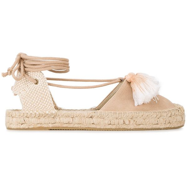 Soludos tasselled espadrilles found on Polyvore featuring shoes, sandals, ivory, nude sandals, nude shoes, tassel sandals, tassel shoes and cream shoes