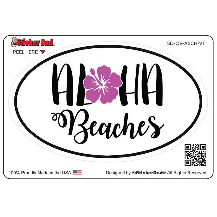 Oval aloha beaches v1 5 color full full color printed vinyl window sticker