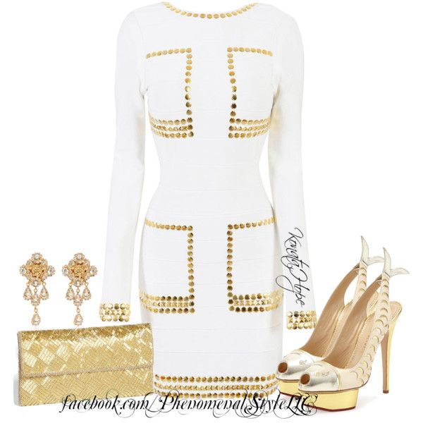 TAYLOR Gold bandage Dress by konata-phenomenalstyle on Polyvore featuring moda, Charlotte Olympia, Glint and Versace