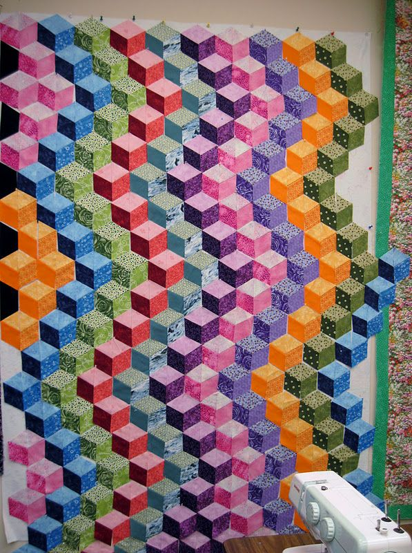 Tumbling Blocks quilt, design wall photo