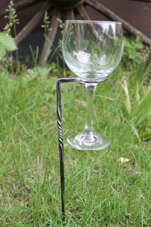 Handforged Wine Glass Stake - Handforged Handmade Wedding- Set of 4 Twisted.