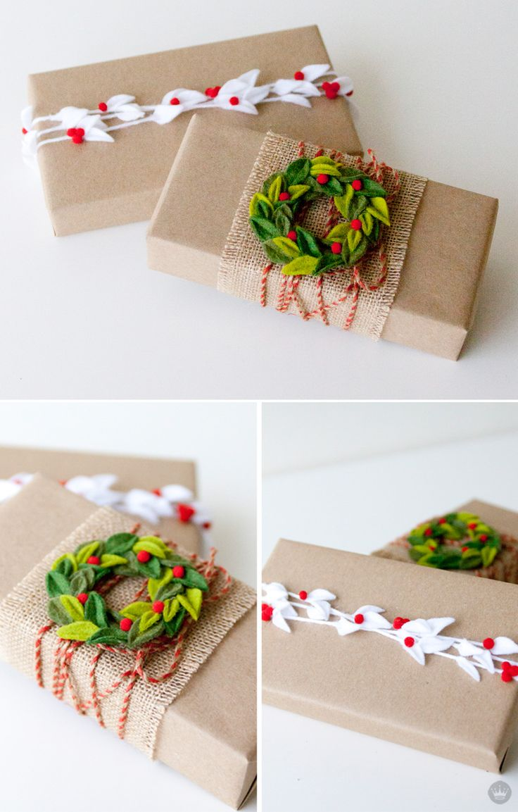 There's nothing like a handmade touch to make any gift feel extra special. We put a team of Hallmark designers on the creative case to make the coolest DIY felt gift attachments they could come up with. Take a gander, get inspired, and download our step-by-step instructions for making your very own felt mistletoe—a charming and easy last-minute gift wrapping idea.