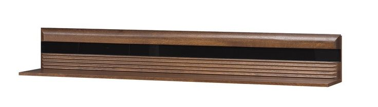 PORTI 35 półka dębowa z czarnym szkłem w kolorze dąb antyczny