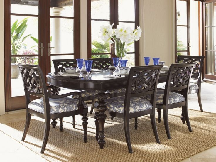 Royal Kahala Seven Piece Islands Edge Dining Table Molokai Chairs Set By Tommy Bahama Home