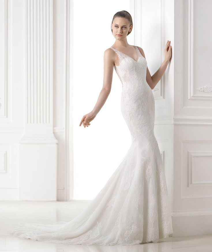 Elegant Discover the Mandala wedding dress from the Fashion collection with sheer V neck overlay and sheer back PRONOVIAS the Mandala wedding dress from the
