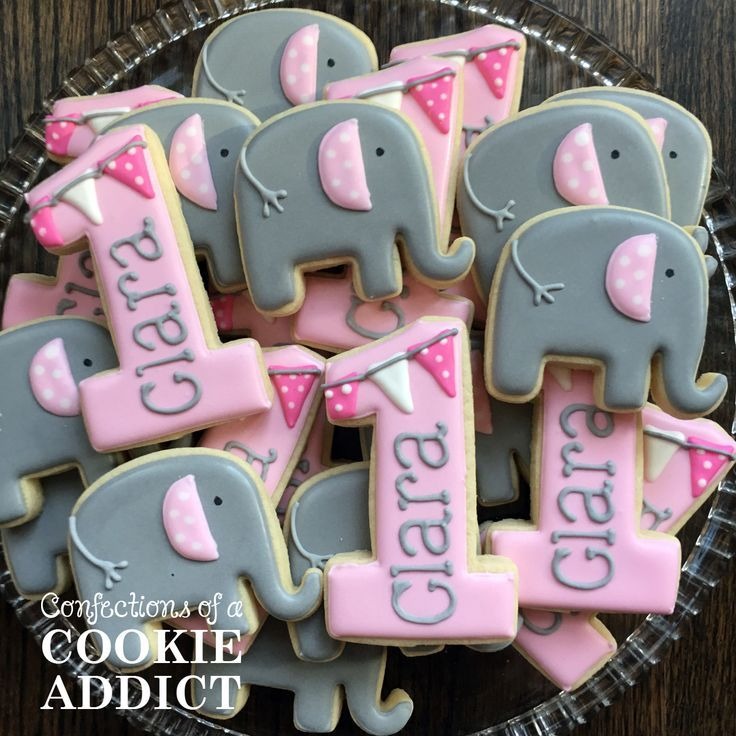Excellent 1St Birthday Cookies Elephant Cookies With Images First Funny Birthday Cards Online Elaedamsfinfo