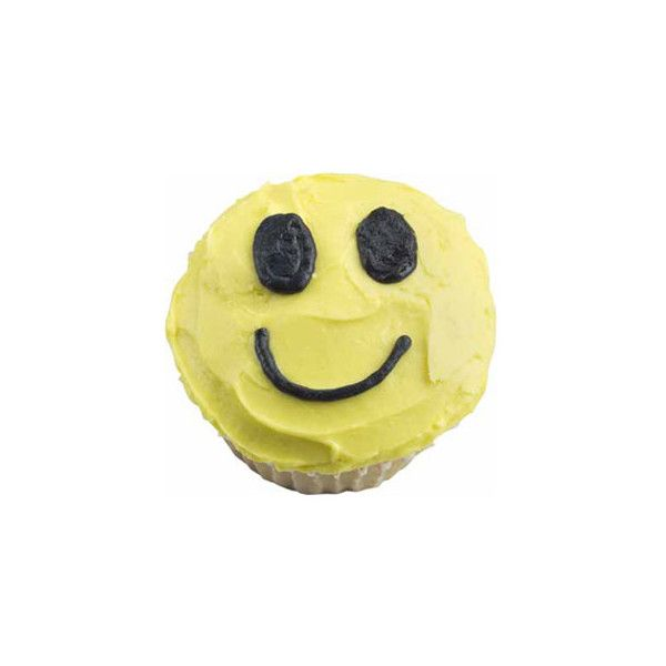 Smile Guy Cupcake at Cupcake Fun ❤ liked on Polyvore featuring fillers, food, yellow, yellow fillers and cupcakes