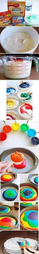 Tye dye cakes all you need are vanilla flavor cake mix and food coloringFood Colors, Kids Birthday, For Kids, Cake Mixed, Rainbow Cakes, Rainbows Cake, Ties Dyes, Colors Cake, Birthday Cake