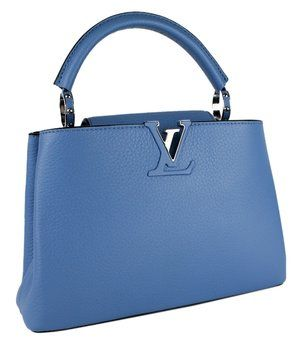Louis Vuitton Vuitton Capucines Bb Leather Blue Tote Bag. Get one of the hottest styles of the season! The Louis Vuitton Vuitton Capucines Bb Leather Blue Tote Bag is a top 10 member favorite on Tradesy. Save on yours before they're sold out!