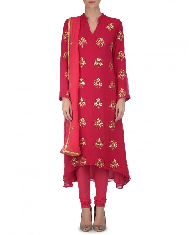 Crimson Red Suit with Gota Work - Sonia Saxena