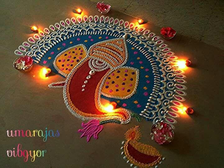 Ganesh rangoli by Umarajas vibgyor