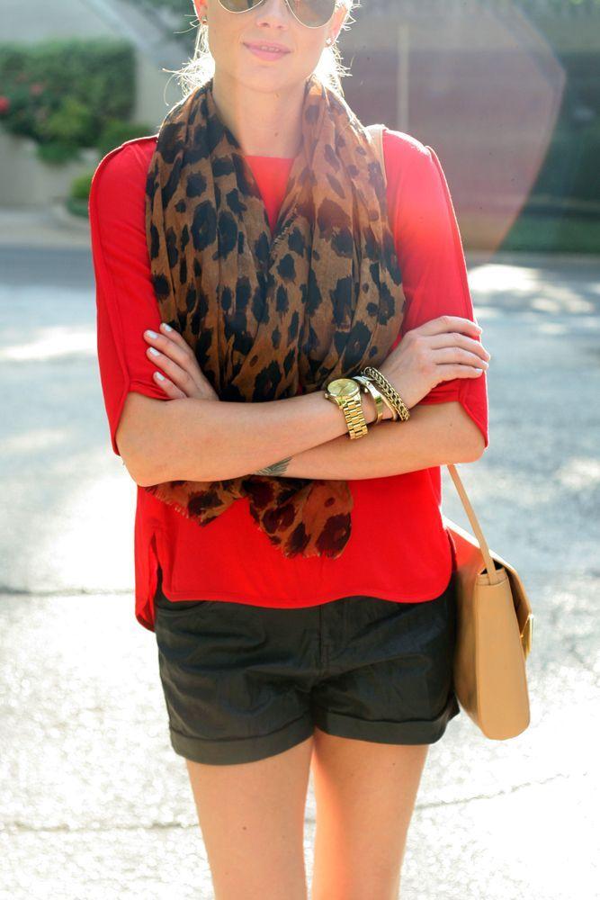Black Short Top Red Blouse & Leopard Scarf