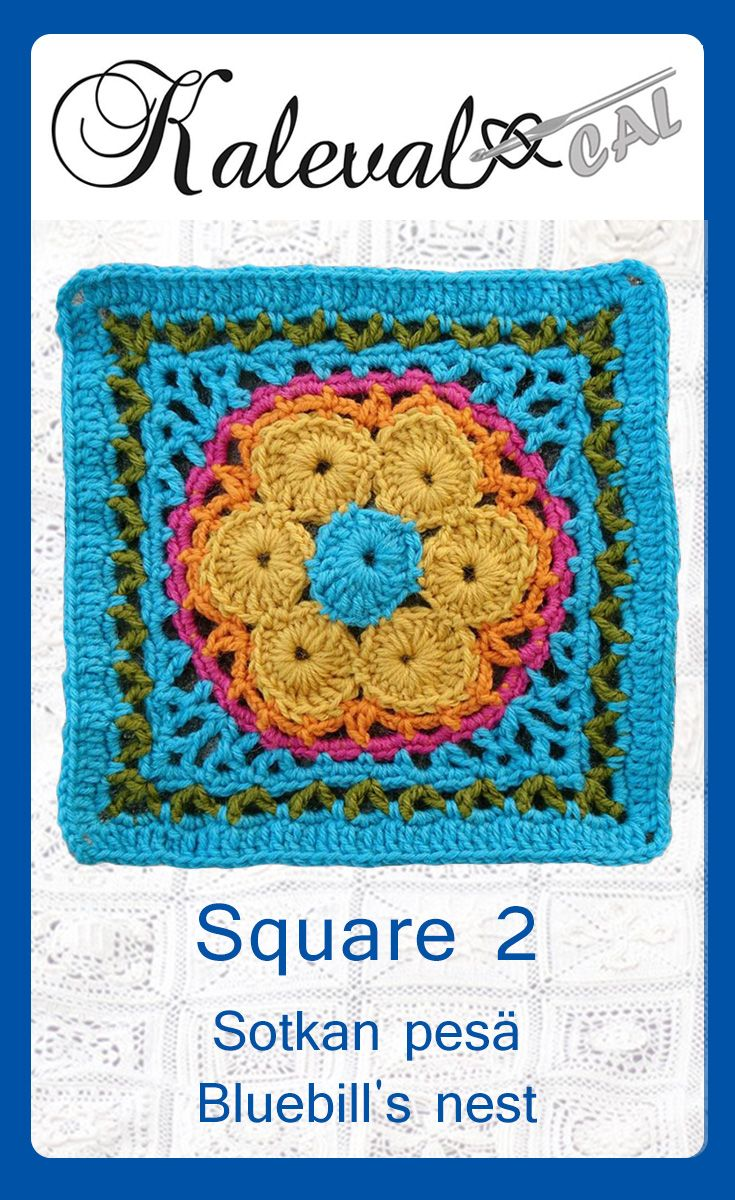 Kalevala CAL crochet-along, square 2. Design Taina Tauschi. Join in the blanket cal by Finnish crochet designers #crochet #crochettutorial #crochetalong #crochetafghan