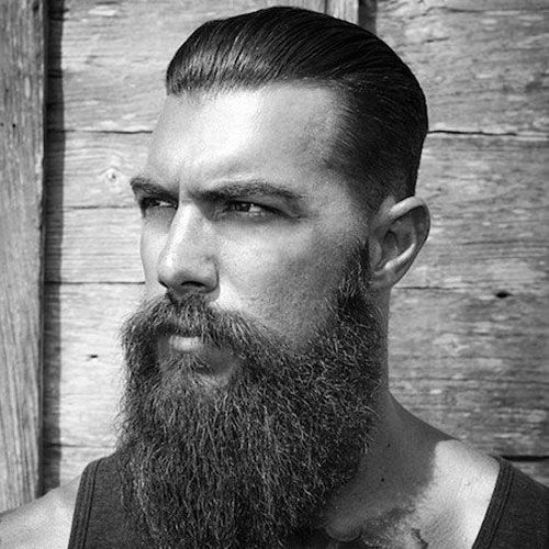 Slicked Back Hair with Thick Beard