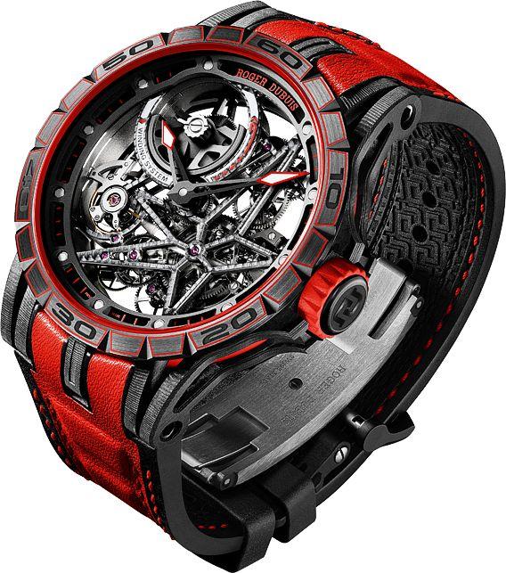 La Cote des Montres : La montre Roger Dubuis Excalibur Spider Carbon Squelette Automatique avec micro-rotor - Excalibur entre dans l'ère du carbone