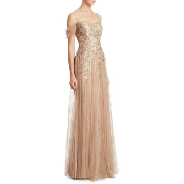 Teri Jon by Rickie Freeman Off-the-Shoulder Pleated Tulle Evening Gown (£665) ❤ liked on Polyvore featuring dresses, gowns, off the shoulder dress, off the shoulder evening dress, beige dress, off shoulder evening gown and off the shoulder evening gown