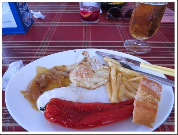 Tapas are supposed to be small plates of food, but at this restaurant in Almeria, Spain, this plate of food and the beer will only set you back 2.50!