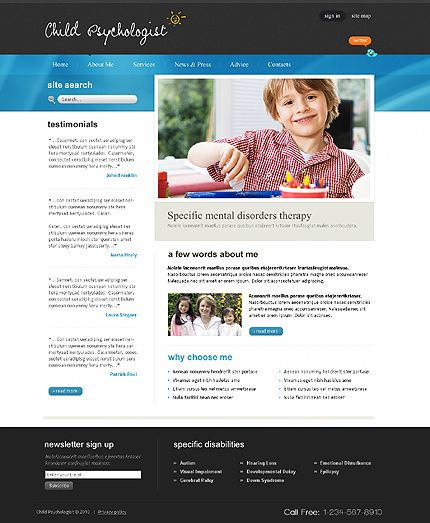 Child Psychologist Website Templates by Delta