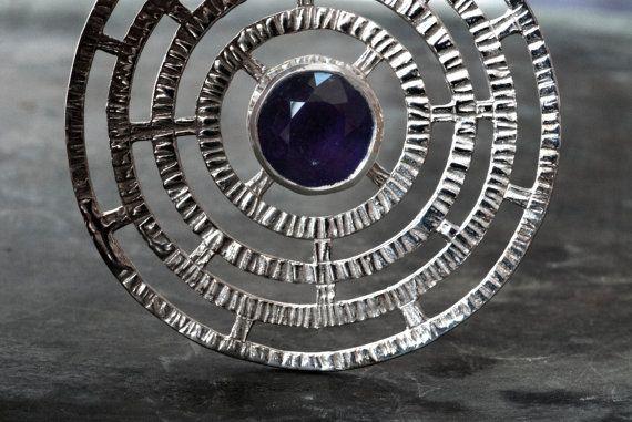 Amethyst Necklace Big Purple Statement Sterling by SunSanJewelry