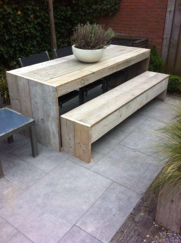 Steigerhouten tafel en bank