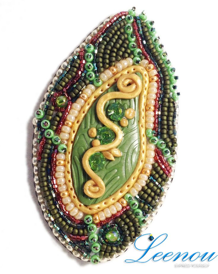 Polymer Clay Bead Embroidered Brooch