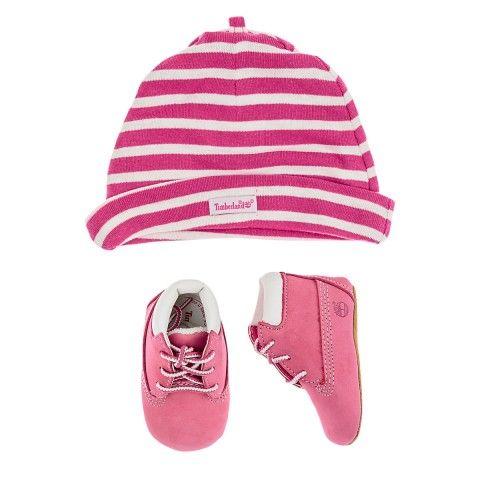 Timberland Baby Girls Pink Striped Hat & Booties Set