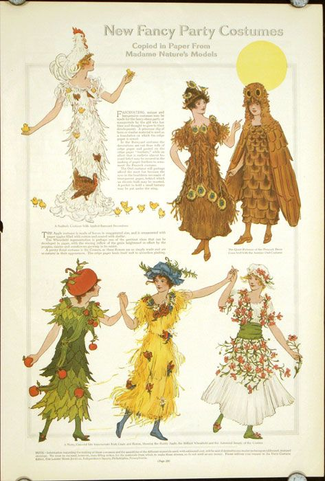 A variety of cute, nature inspired fancy dress costumes from Ladies' Home Journal, 1911.