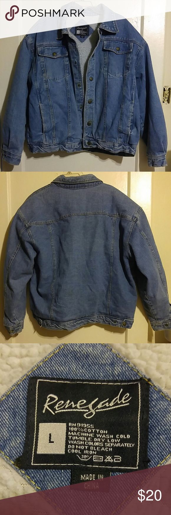 Renegade Men's Hean Jacket Heavy Jean Jacket fully lined, very warm n fuzzy inside. Has four pockets. Very good condition. Perfect for freezing weather. Renegade Jackets & Coats
