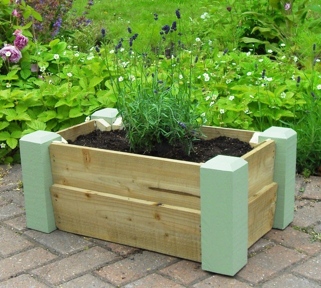 Painted Wooden Trough Planter Spring Sale Now On