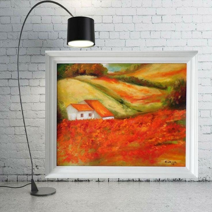 obraz olejny, malarstwo, pejzaż, pola maków,malarstwo olejne
