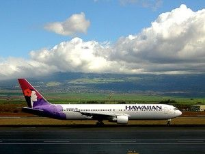 Hawaiian Airlines jet at Kahului Airport, Maui.