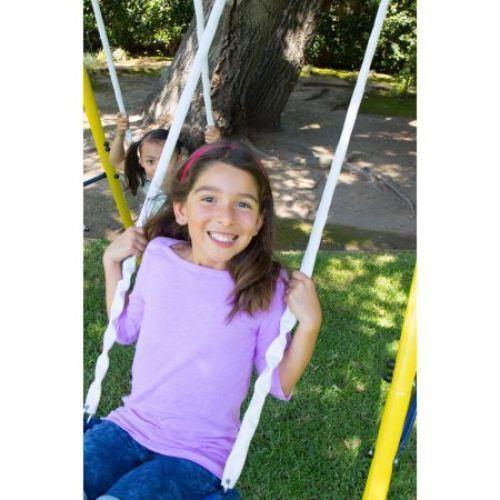 Swing Set Playground Metal Swingset Outdoor Play Slide Kids Backyard Playset Fun #SwingSetPlayground